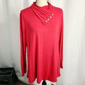 Leo rosi red button neck long sleeve L